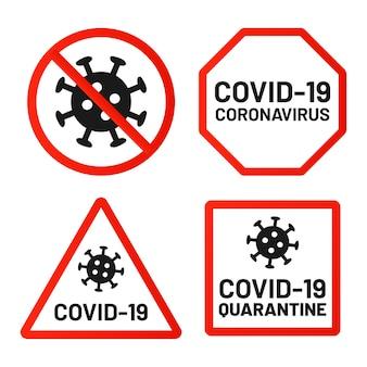 Covid-19 zakazuje, zwraca uwagę i ostrzega. kwarantanna 2019-ncov, groźny koronawirus, ostrzeżenie przed epidemią wirusa na czerwonym kwadracie, formy ośmiokątne.