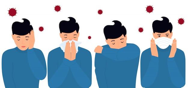 Covid-19. zapobieganie i objawy koronawirusa. bół głowy. mężczyzna nakłada maskę ochronną, kicha na łokciu, w serwetce.