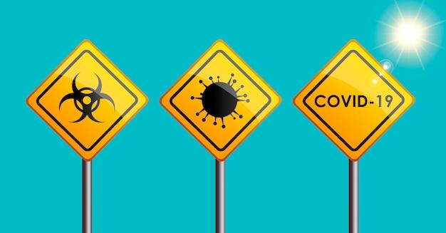 Covid-19 znak ostrzegawczy wirusa z symbolem zagrożenia