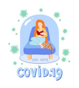 Covid 19 zostań w domu - motywacyjny plakat kwarantanny koronawirusa, dziewczyna o jasnoczerwonych włosach siedzi w fotelu