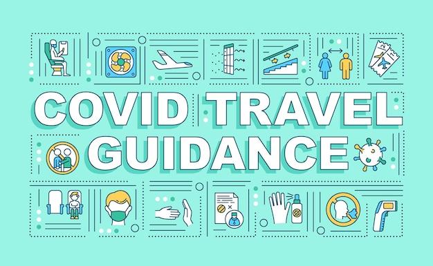 Covid baner pojęć słowo wytyczne podróży. utrzymywanie dystansu społecznego w samolocie. infografiki z liniowymi ikonami na zielonym tle. typografia na białym tle.