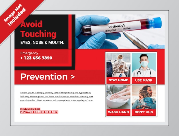 Covid health red horizontal flyer for coronavirus