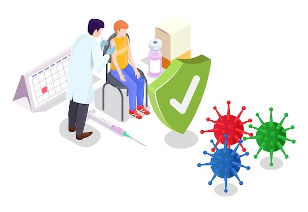 Covid koronawirus koncepcja szczepienia wektor ilustracja izometryczny styl covid szczepionka lekarz robi...