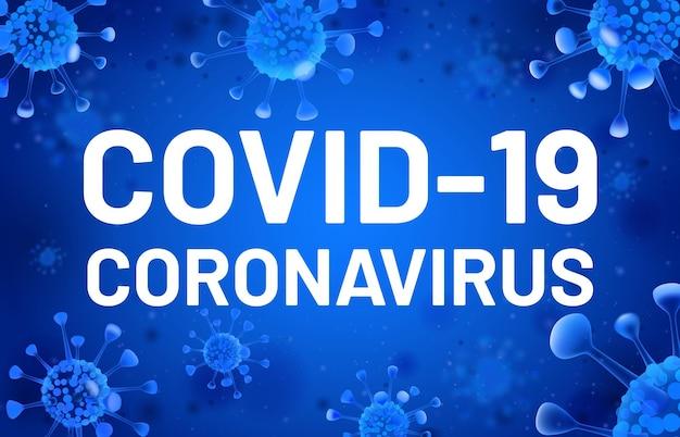 Covid19. baner koronawirusa z niebieskimi komórkami