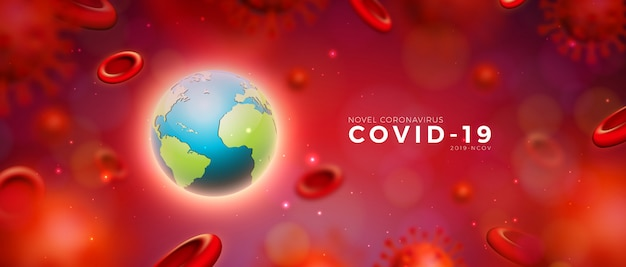 Covid19. coronavirus epidemic design with virus and blood cells and earth