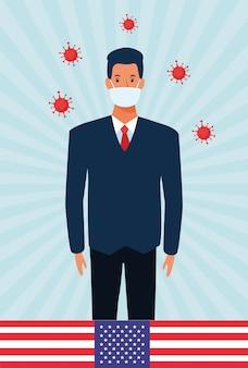 Covid19 cząsteczki pandemiczne z biznesmenem za pomocą maski na twarz