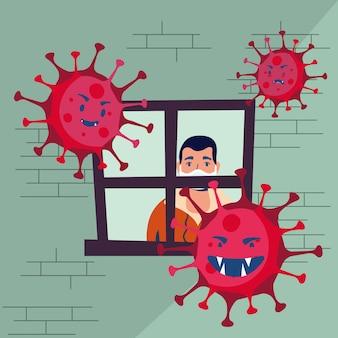 Covid19 cząsteczki pandemii z mężczyzną w domu