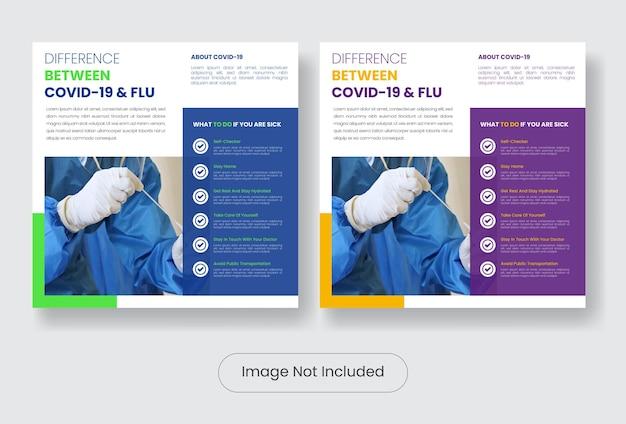 Covid19 edukacja zestaw szablonów banerów postów w mediach społecznościowych