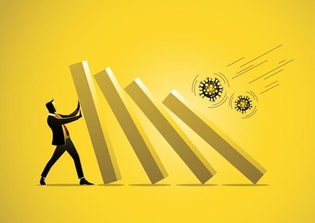 Covid19 epidemia wirusa koronowego kryzys finansowy biznesmen pomaga pchać spadający wykres słupkowy