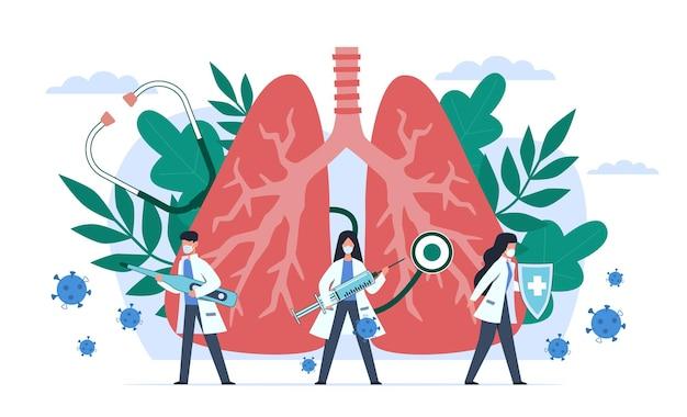 Covid19. globalna epidemia pandemii koronawirusa, profesjonalni lekarze i pielęgniarki w kombinezonach ochronnych walczących z koncepcją kwarantanny wektorowej z zapaleniem płuc