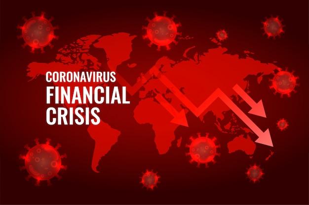 Covid19 koronawirus globalnej gospodarki upadek strzałka tło