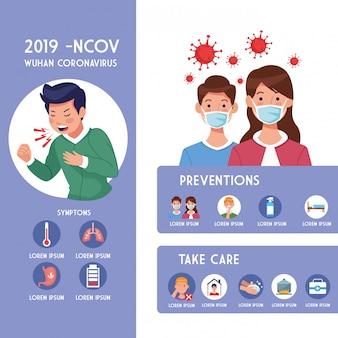 Covid19 pandemiczna ulotka z infographics ilustracyjnym projektem