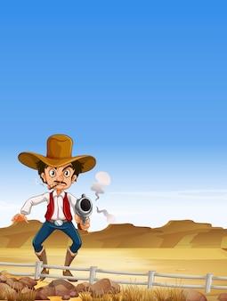 Cowboy strzelanie z pistoletu w polu
