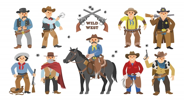 Cowboy western cow boy on wildly horse character for rode