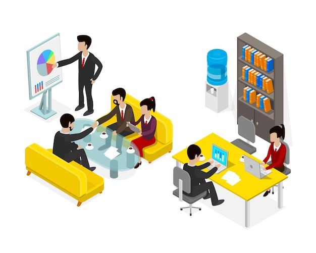 Coworking biuro ludzie biznes człowiek obiektu izometryczny. ilustracja wektorowa