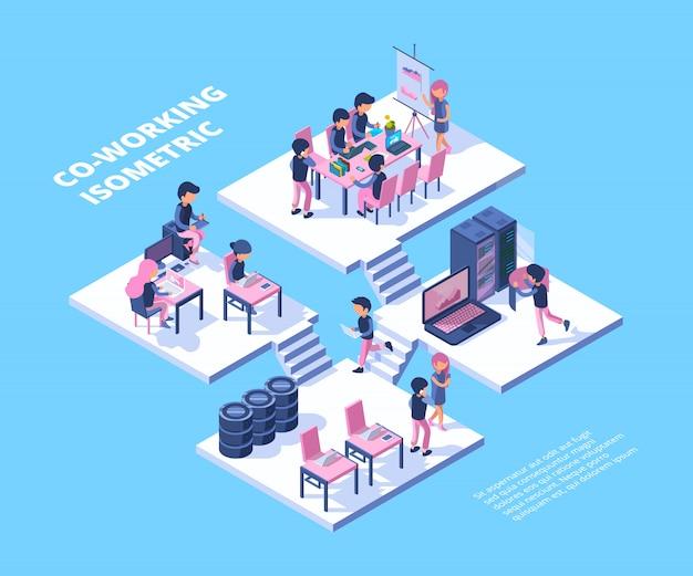 Coworking biznesu freelancer drużynowi profesjonaliści grupują spotkanie ludzi pracuje opowiadać wpólnie coworking pojęcie