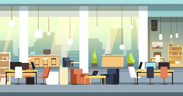 Coworking interior. pusty otwartej przestrzeni biuro, workspace wektoru ilustracja