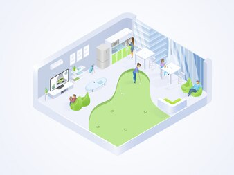 Coworking Office Lounge Wnętrze Izometryczne Wektor