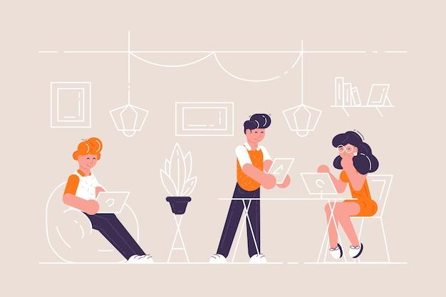 Coworking przestrzeń z ludźmi siedzącymi przy stole.