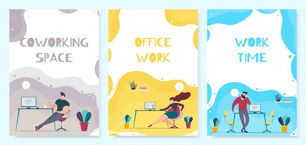 Coworking space and office time management zestaw okładek mobilnych