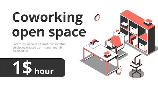 Coworkingowy baner otwartej przestrzeni z edytowalnym tekstem i izometrycznymi obrazami obszaru roboczego z regałami
