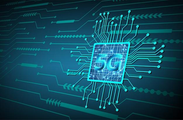 Cpu 5g blue cyber obwodu technologii przyszłości koncepcja tło
