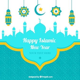 Craetive szczęśliwy islamski tle nowego roku