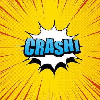 Crash komiks kreskówka w żółtych kolorach z białą chmurą, efektami półtonów i promieniami