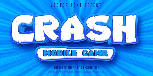 Crash tekst gry mobilnej, edytowalny efekt tekstowy w stylu gry