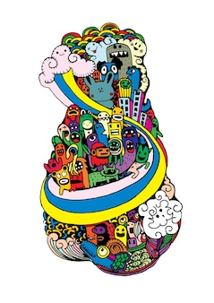 Crazy doodle city, doodle drawing style