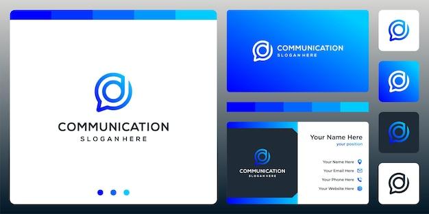 Creative chat logo i logo litery re. projekt wizytówki.