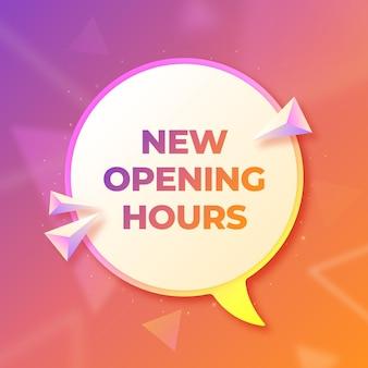 Creative gradient nowy znak godzin otwarcia