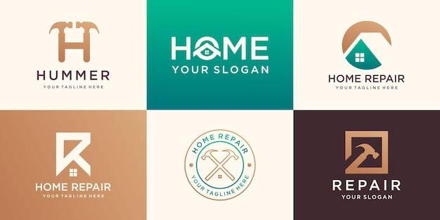 Creative home logo collection połączony element młotka, zestaw logo abstrakcyjnych budynków.