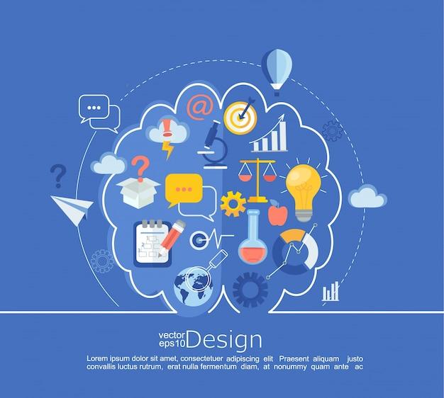 Creative lewy i prawy pomysł idea infographic.