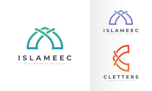 Creative line art islamskie logo profesjonalna firma business design