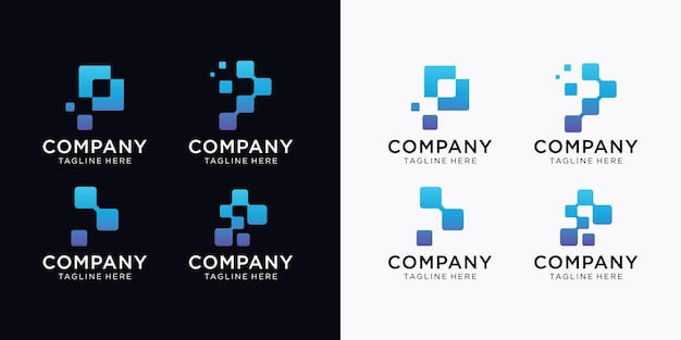 Creative list zestaw p logo nowoczesnej technologii cyfrowej.