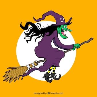 Creepy czarownica latająca na miotle