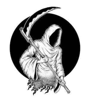 Creepy grim reaper holding scythe pointillism illustration