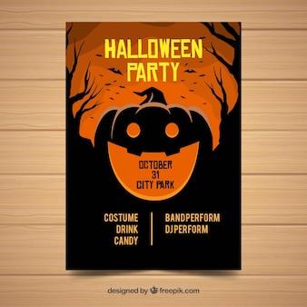 Creepy halloween party plakat szablon z płaska konstrukcja
