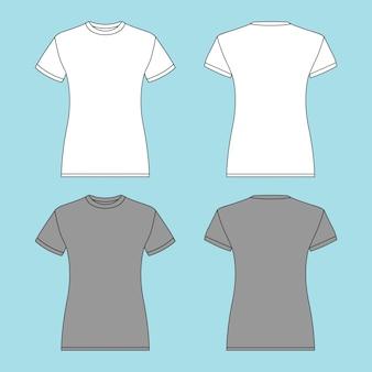 Crewneck panie kobiety t shirt ilustracji wektorowych