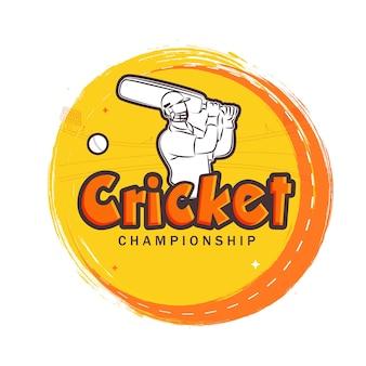 Cricket championship tekst z naklejką batsman player i pomarańczowy efekt pociągnięcia pędzlem na białym tle.