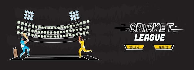 Cricket league banner lub projekt nagłówka z batsman, postać melonik w pozie na stadionie widok czarne tło.