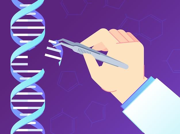Crispr cas9 narzędzie do edycji genów. edycje genomu, inżynieria genetyczna ludzkiego dna i ilustracja kodu dna.