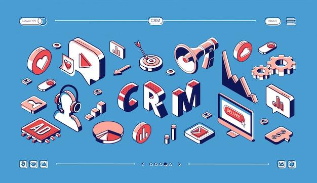 Crm, izometryczny baner internetowy zarządzania relacjami z klientami