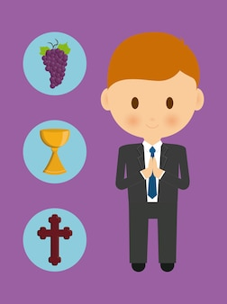Cross cup grapes boy kid cartoon icon