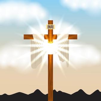 Cross inri i jasne jasne niebo promieniujące