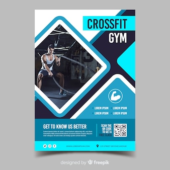 Crossfit siłownia sport szablon ulotki