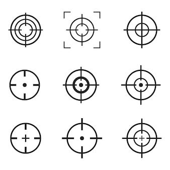 Crosshair ikony projekta wektorowa ilustracja odizolowywająca na bielu