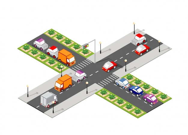 Crossroad road isometric