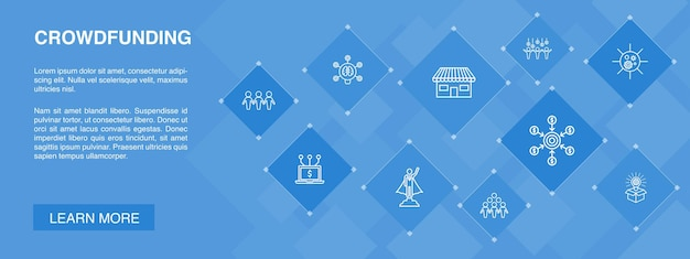 Crowdfunding banner 10 ikon concept.startup, uruchomienie produktu, platforma finansowania, proste ikony społeczności